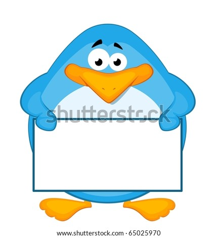 Vector cartoon penguin with baner - stock vector