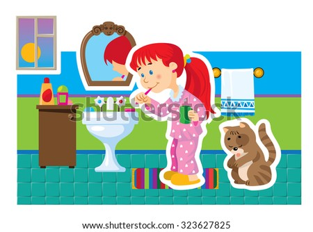 Vector cartoon picture of a girl cleaning her teeth in the bathroom - stock vector