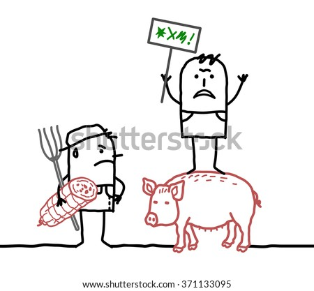 vector cartoon pork producers protesting against agriculture business - stock vector