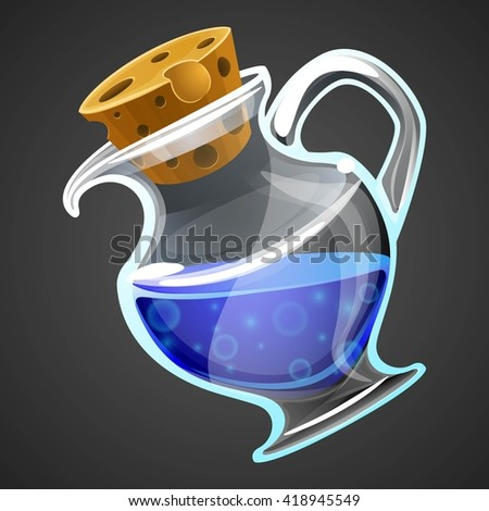 Vector cartoon potion bottle. Vial with blue liquid for game icons. GUI asset. - stock vector