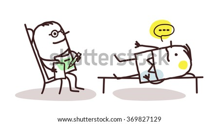 vector cartoon psychoanalyst with patient - stock vector