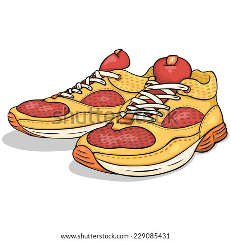 Vector Cartoon Red and Yellow Running Shoes - stock vector