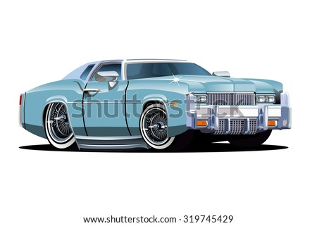 Vector cartoon retro car. Available EPS-10 separated by groups and layers with transparency effects for one-click repaint - stock vector