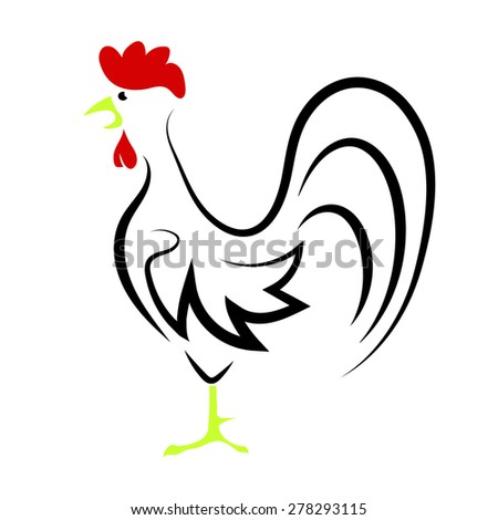 Vector Cartoon Rooster Isolated on White Background for Your Design - stock vector