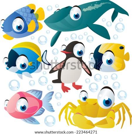 vector cartoon sea animal set: fish, whale, penguin, crab - stock vector