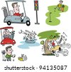Vector cartoon selection of golfers with carts on golf course - stock photo