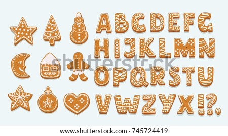 Vector cartoon set of alphabet holidays ginger cookie isolated on white background. Merry Christmas and Happy New Year figures cover by icing-sugar
