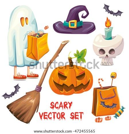 vector cartoon set of color isolated halloween items kid in ghost costume evil pumpkin - Halloween Items