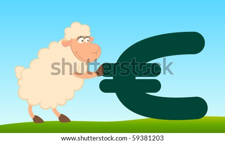 Vector cartoon sheep with the sign of euro - stock vector