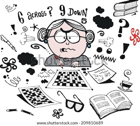 Vector cartoon showing grandmother trying to solve crossword puzzles - stock vector