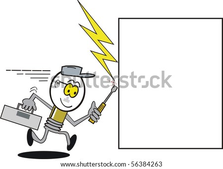 Vector cartoon showing light bulb electrician symbol running to repair fault. - stock vector
