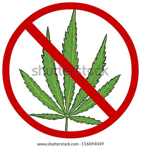 vector cartoon sign: no cannabis - stock vector