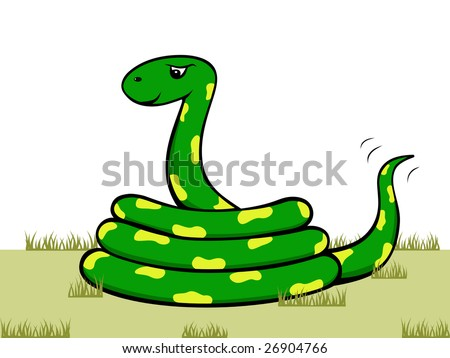vector cartoon snake with yellow spots