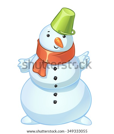 Vector cartoon snowman with red scarf and green bucket - stock vector