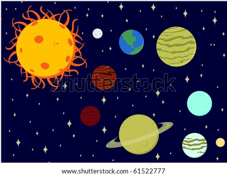 Vector Cartoon Solar System (each planet layered) - stock vector