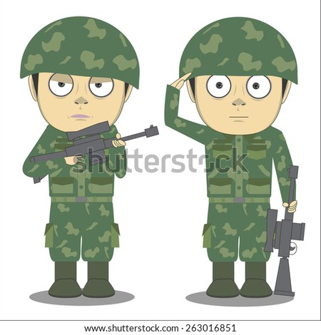 Vector cartoon soldier and a white background. - stock vector