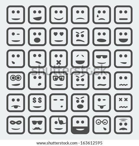 Vector cartoon square faces set - stock vector