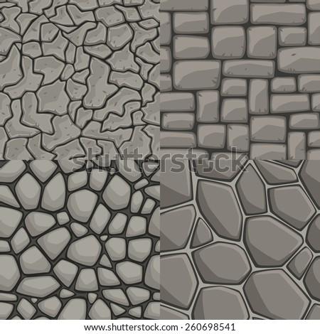Vector cartoon stone wall seamless texture collection  - stock vector