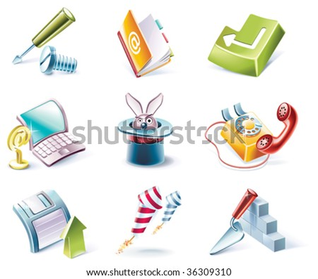 Vector cartoon style icon set. Part 4 - stock vector