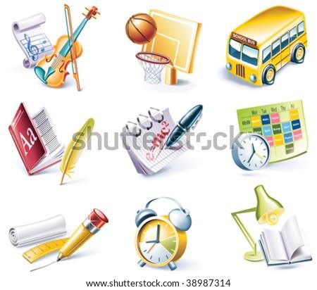 Vector cartoon style icon set. Part 24. School - stock vector