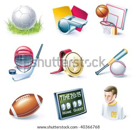 Vector cartoon style icon set. Part 33. Sport - stock vector