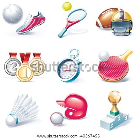 Vector cartoon style icon set. Part 34. Sport
