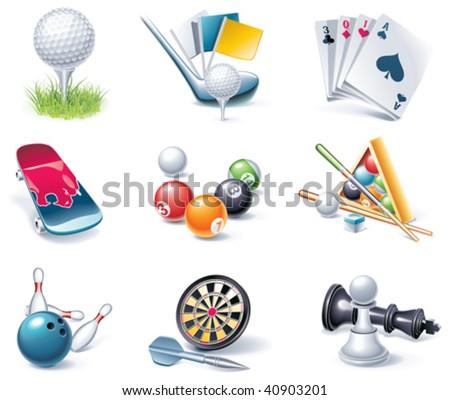 Vector cartoon style icon set. Part 36. Sport - stock vector