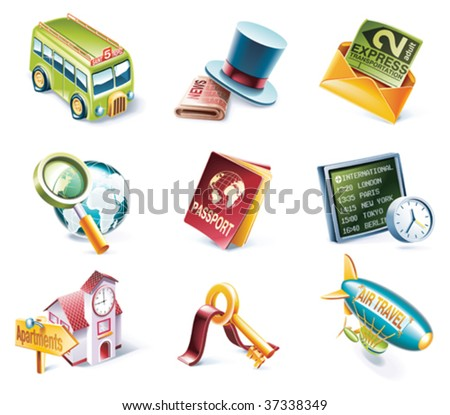 Vector cartoon style icon set. Part 12. Traveling - stock vector