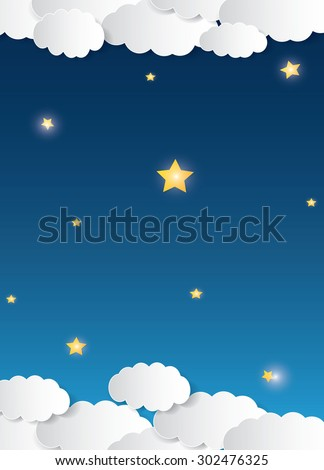 Vector cartoon style illustration of dark blue night sky with stars, fog, and clouds