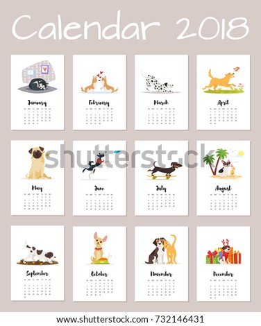 Vector cartoon style illustration of 2018 dog year calendar. Isolated on white background. Template for print.