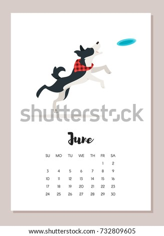 Vector cartoon style illustration of June dog 2018 year calendar page. Isolated on white background. Template for print.