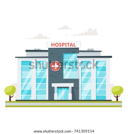 Vector cartoon style illustration medical hospital stock vector vector cartoon style illustration of medical hospital building isolated on white background malvernweather Images