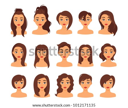 Vector Cartoon Style Illustration Of Woman Different Hairstyles Stylish Modern Female Haircut Long Hair