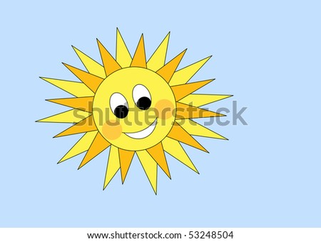 Vector cartoon sun on blue sky - stock vector