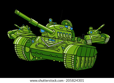Vector cartoon tank illustration isolated on black.  - stock vector