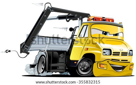 Vector Cartoon Tow Truck. Available EPS-10 vector format separated by groups and layers for easy edit. - stock vector