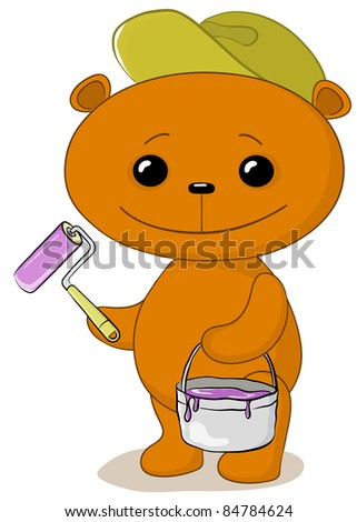 Vector cartoon, toy teddy bear worker house painter with a tool and a bucket of paint