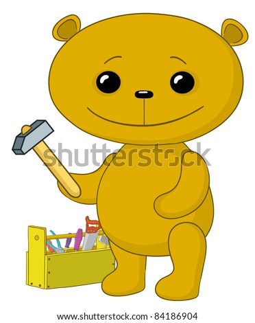 Vector cartoon, toy teddy bear worker with hammer and toolbox