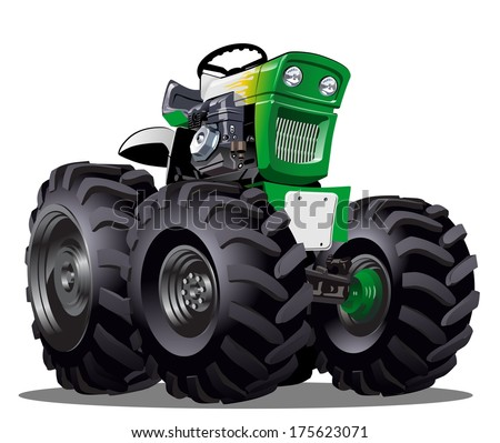 Vector Cartoon Tractor - stock vector