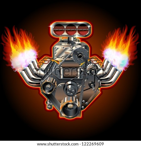 Vector Cartoon Turbo Engine - stock vector