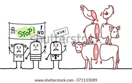 vector cartoon vegan people saying NO to meat industry - stock vector