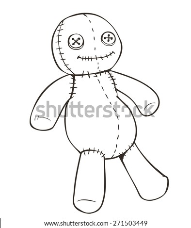 Vector cartoon voodoo doll - stock vector