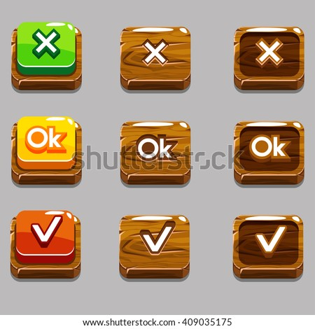 Vector Cartoon wood square buttons for game or web design, OK,Yes, close, gui elements set - stock vector