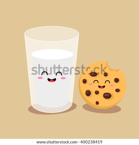 Vector cartoons of comic characters glass of milk and cookies. Friends forever. Breakfast - stock vector
