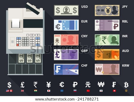 Vector cash register and currency set - stock vector