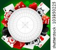 Vector casino background with cardes, dices and roulette - stock photo