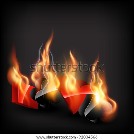 vector casino cards shape in burning style - stock vector