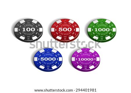Vector Casino Chip 5 Color Set - stock vector