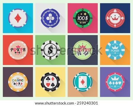 Vector casino chips set in minimal design.  - stock vector
