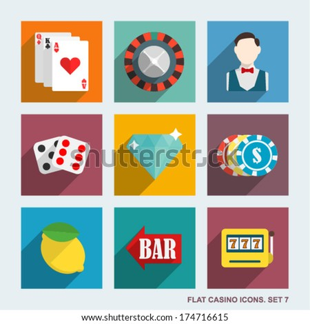 Vector casino flat icons. Set 7. - stock vector